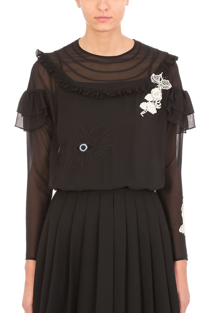 RED Valentino Black Georgette Blouse