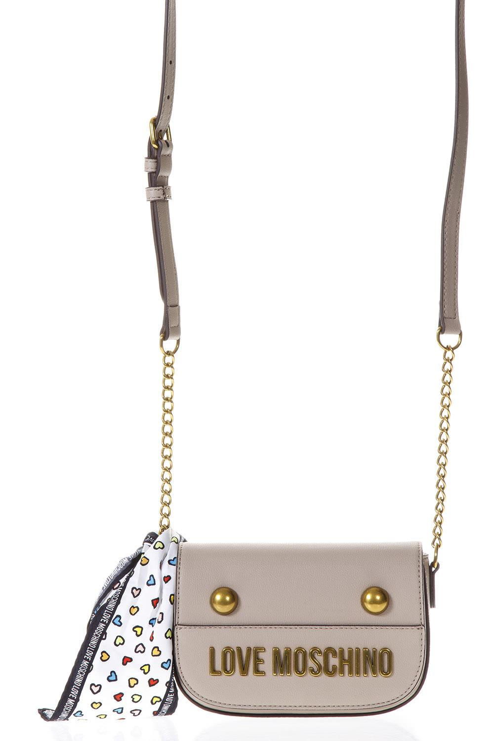 Love Moschino Taupe Faux Leather Cross-body Bag