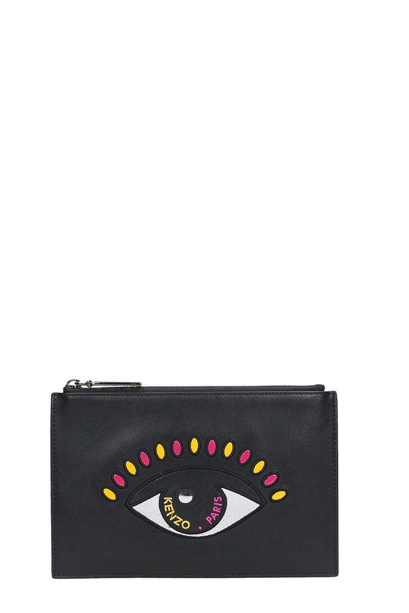 Kenzo Small Eye Pochette Black Leather