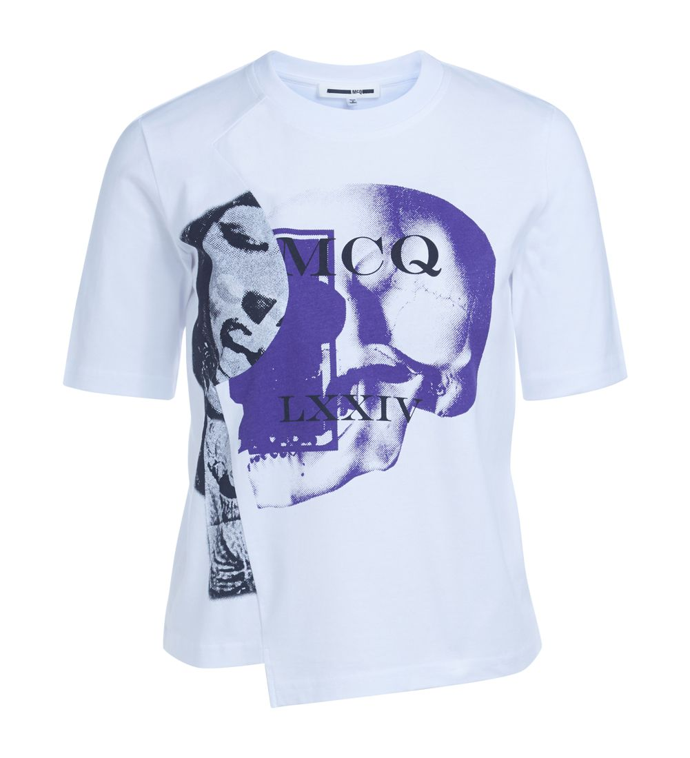Mcq Alexander Mcqueen Asymmetric White T-shirt With Print