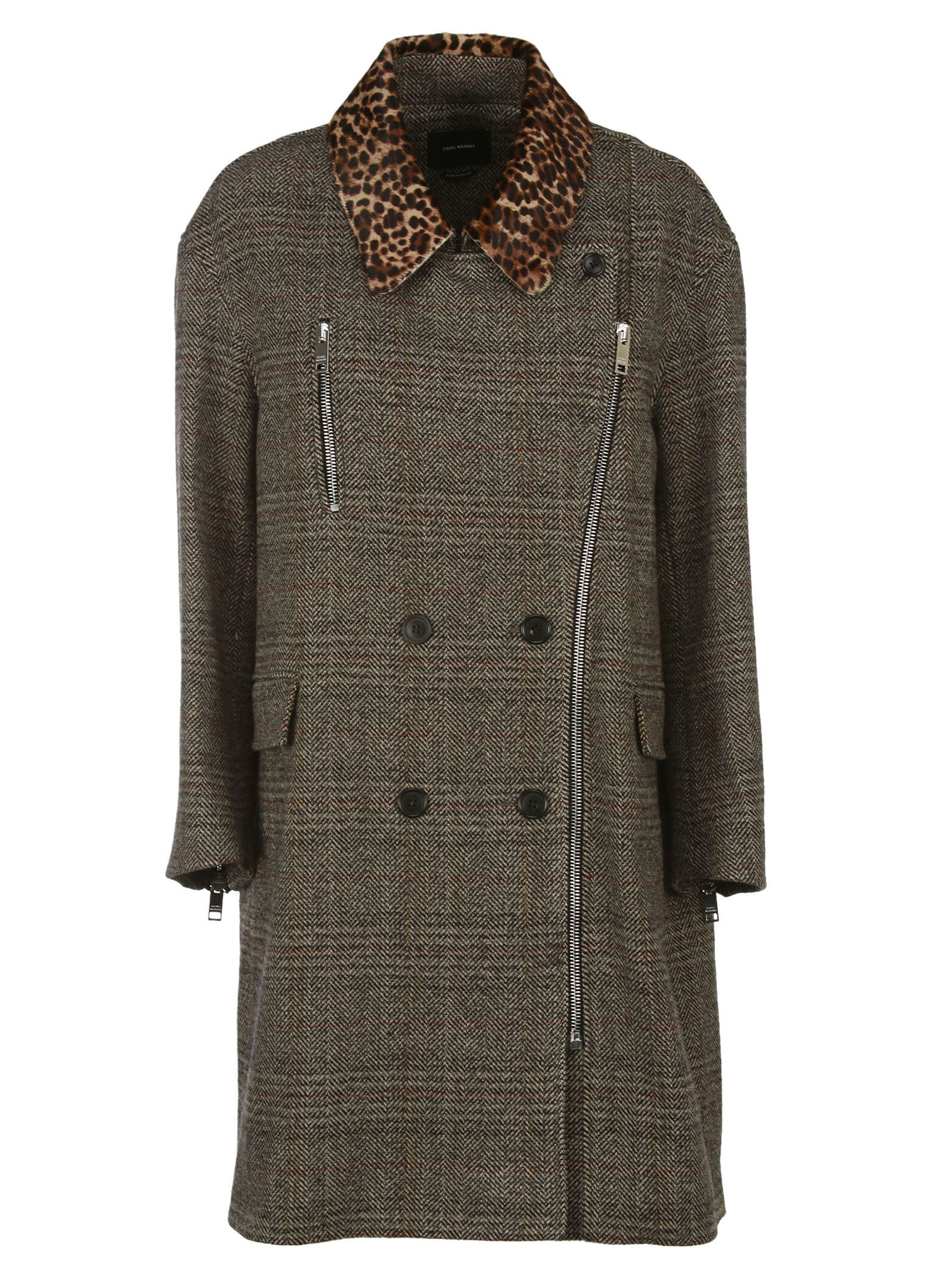 Isabel Marant friso Checked Contrast-collar Coat
