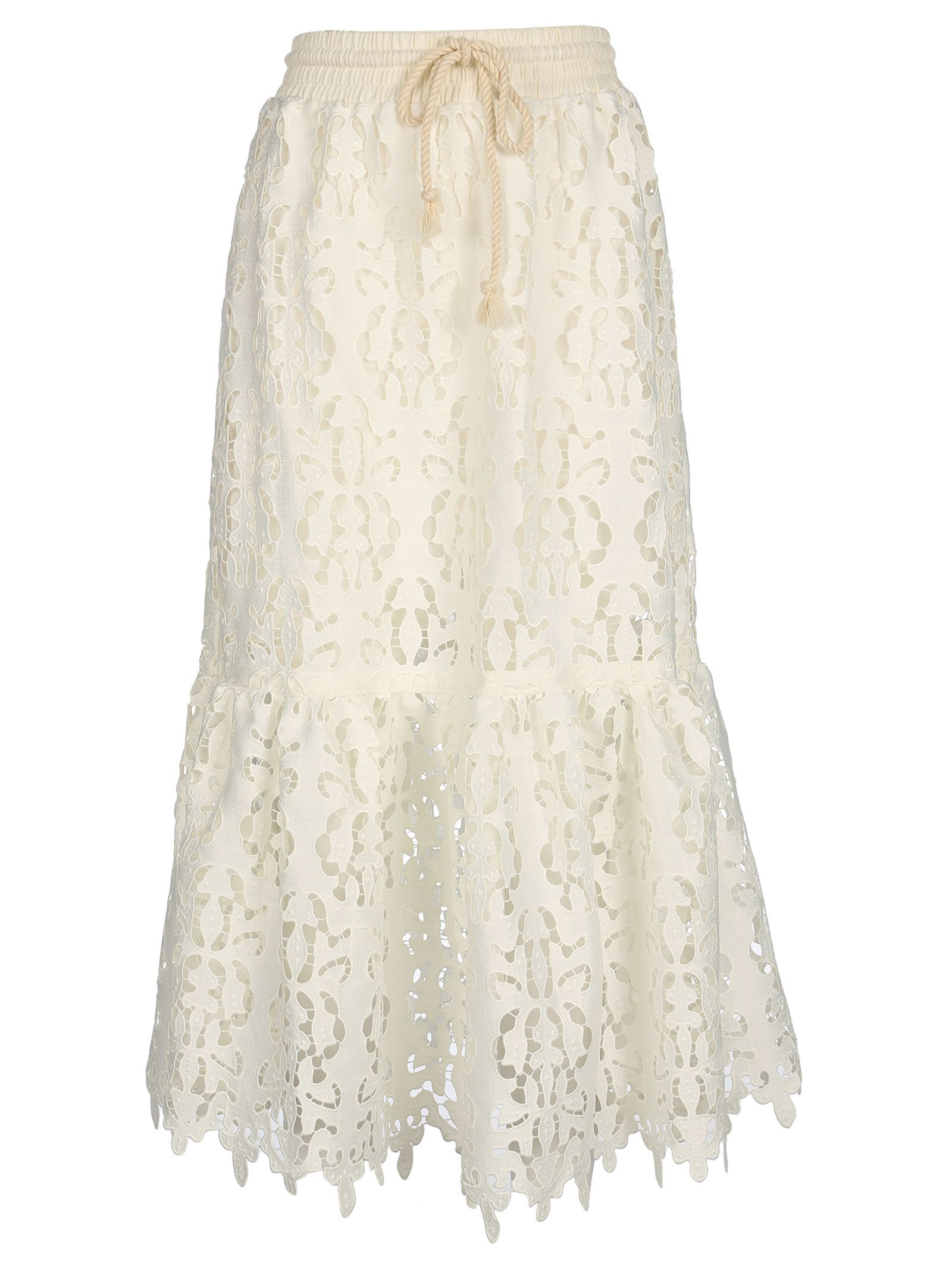 See By Chloé Open Embroidery Midi Skirt
