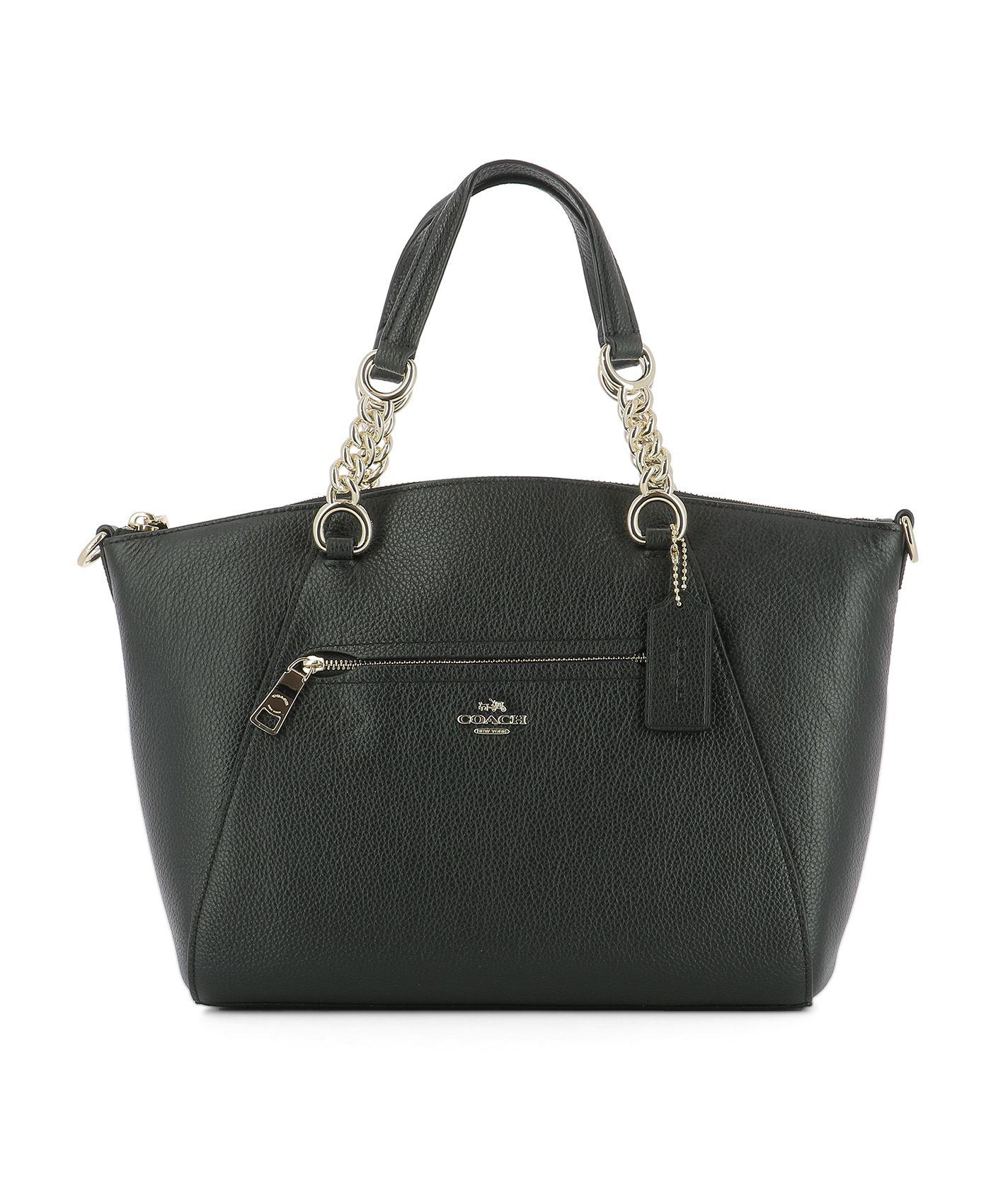 Black Leather Handle Bag