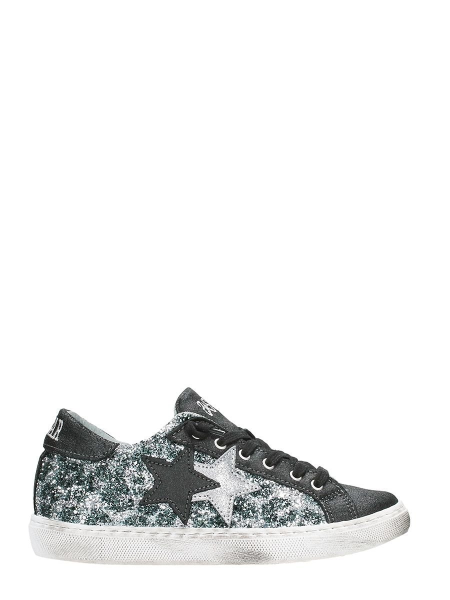 Latest 2star Black And Grey Glitter Low Sneakers For Women