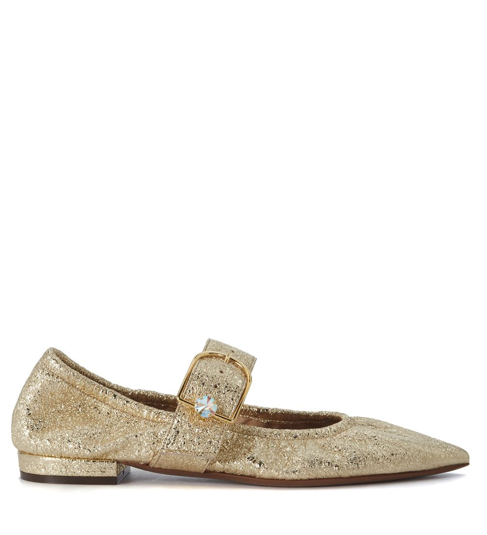 Lautre Chose Gold Laminated Leather Flat Shoes