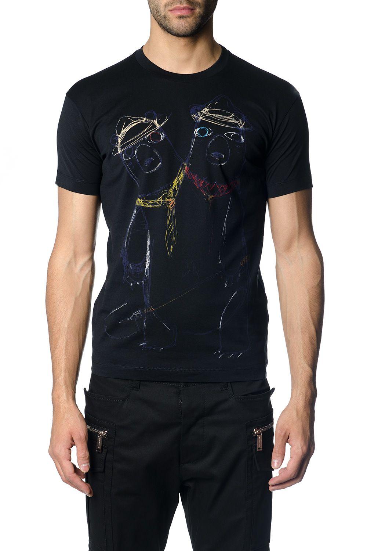 Dsquared2 Bears Sketch Black Cotton T-shirt