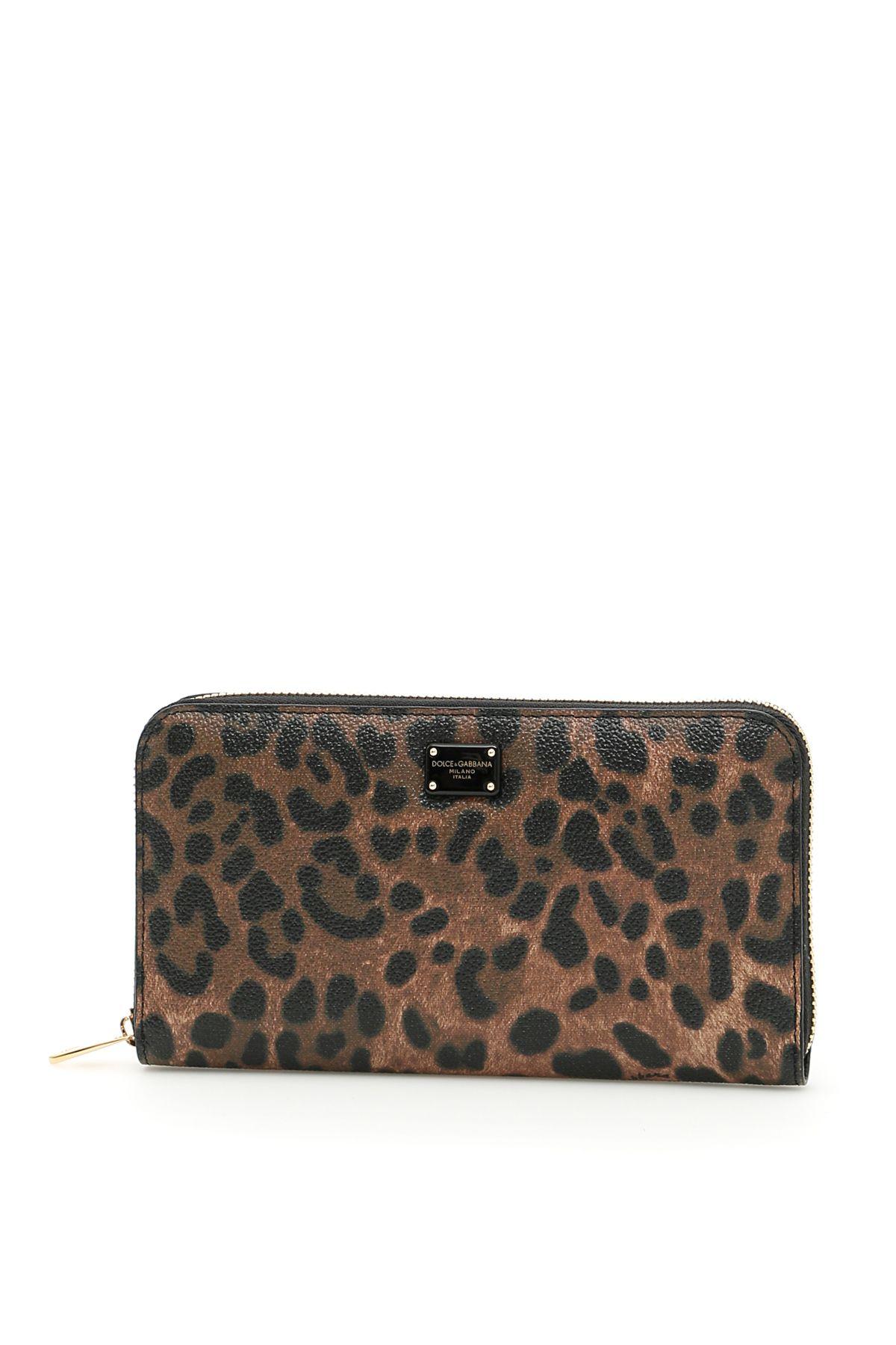Textured Leopard Print Zip-around Wallet