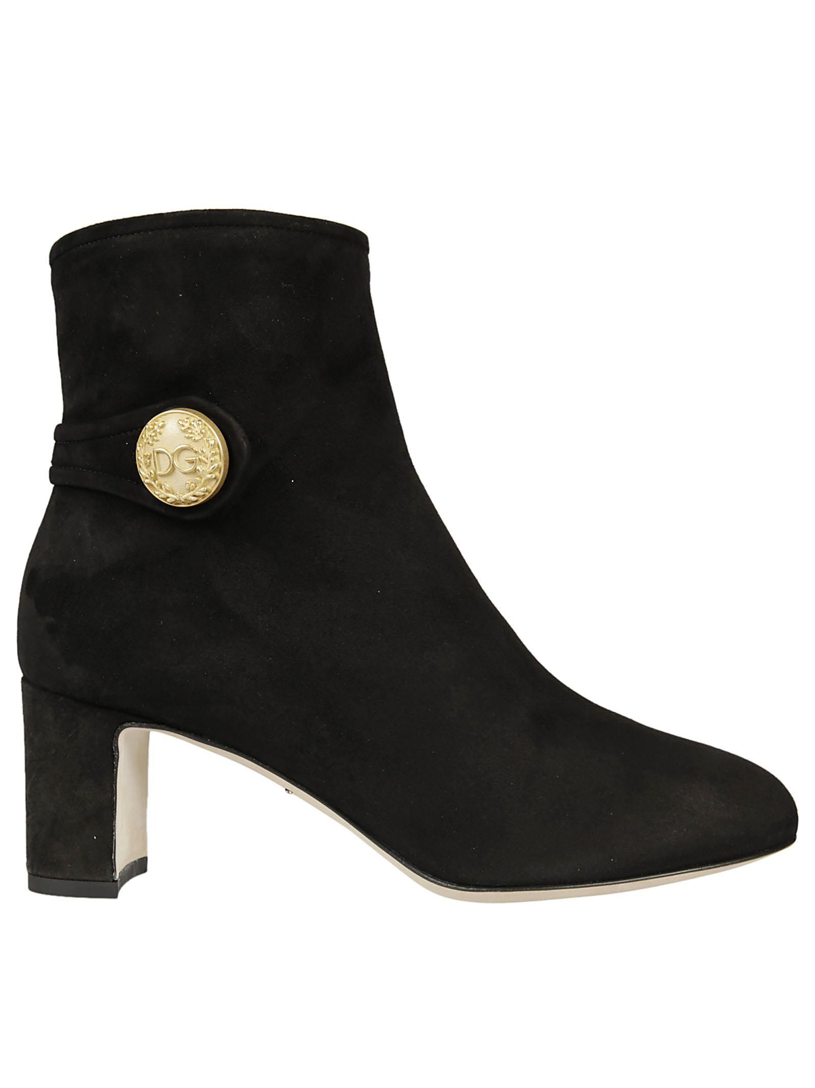 Dolce & Gabbana Button Logo Ankle Boots