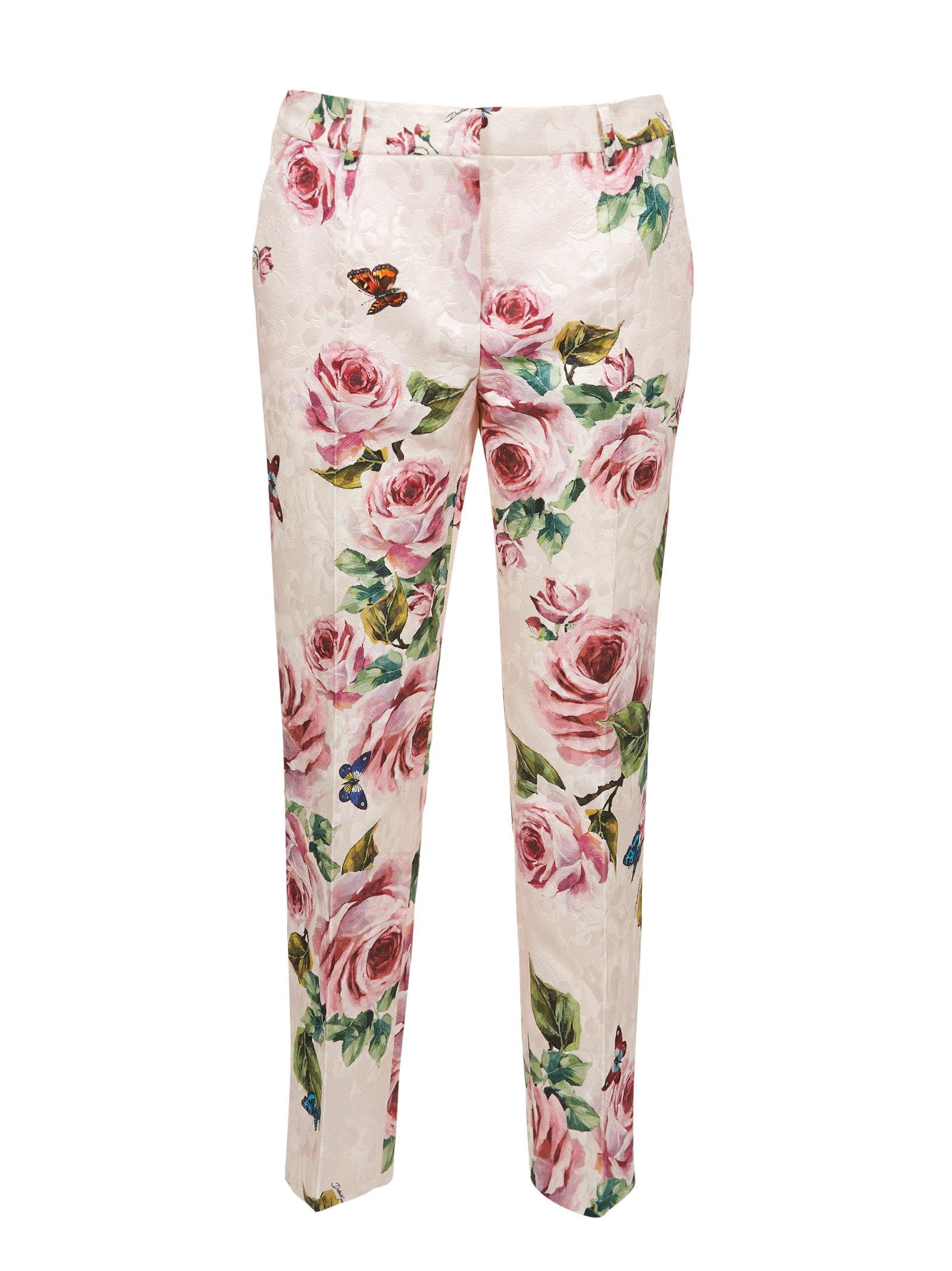Dolce & Gabbana Rose Print Brocade Trousers