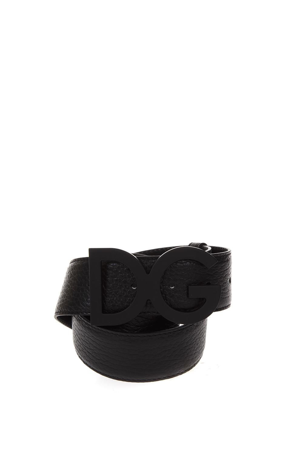 Dolce & Gabbana Leather Belt With Logoed Badge