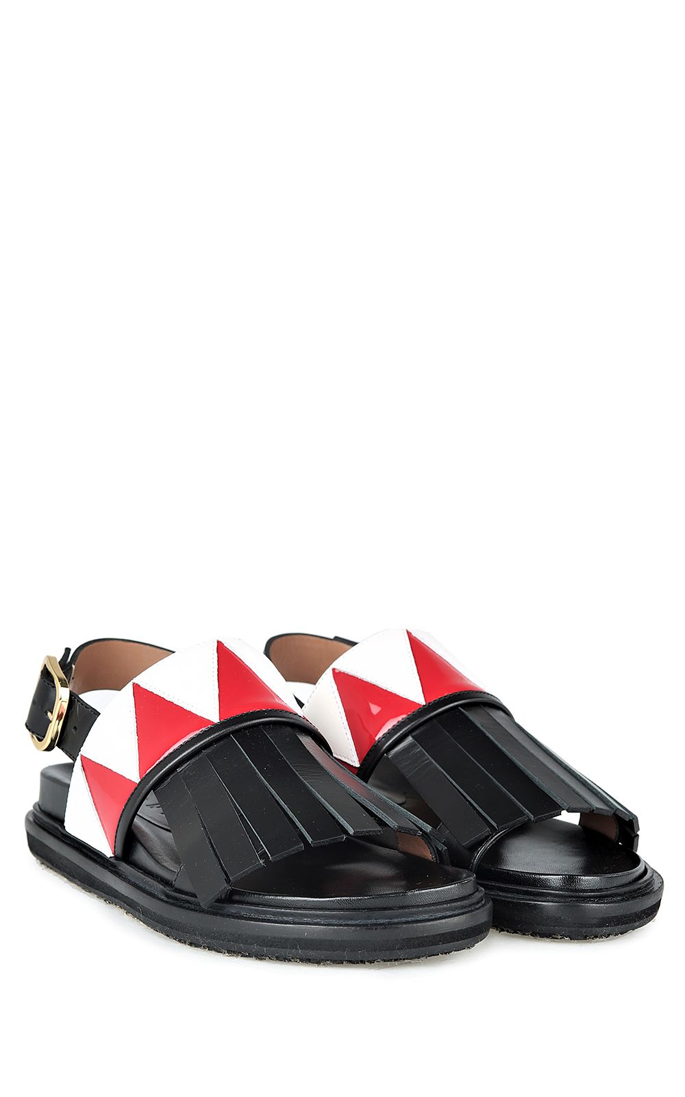 Marni Fringed Bi-color Leather Fussbett