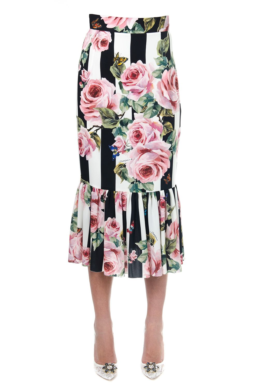 Dolce & Gabbana Tube Skirt In Printed Silk