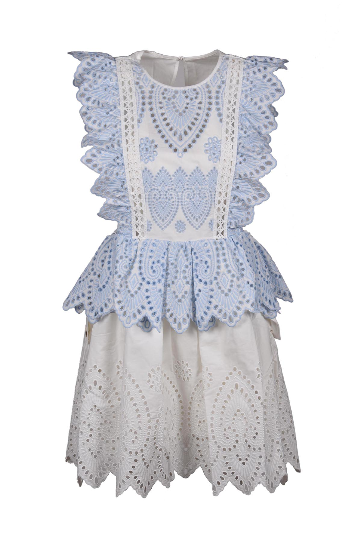 self-portrait Embroidered Frill Mini Dress