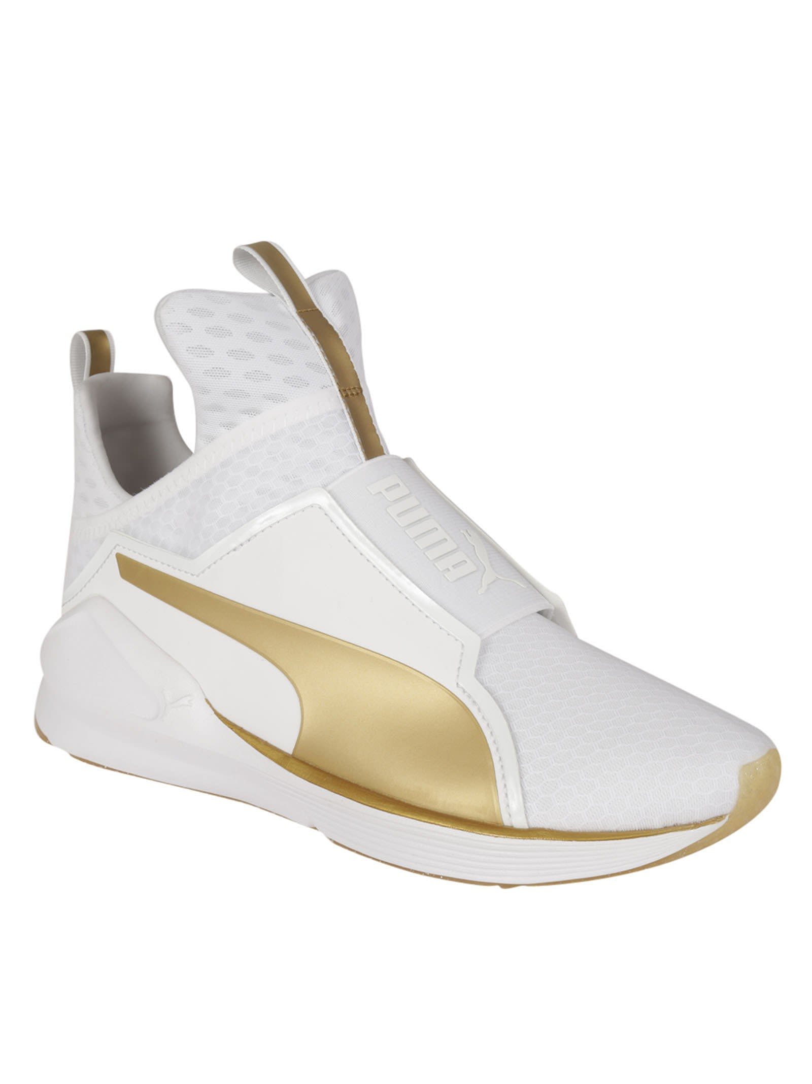 Flat White Fashion Sneakers With Gold Studs Womens