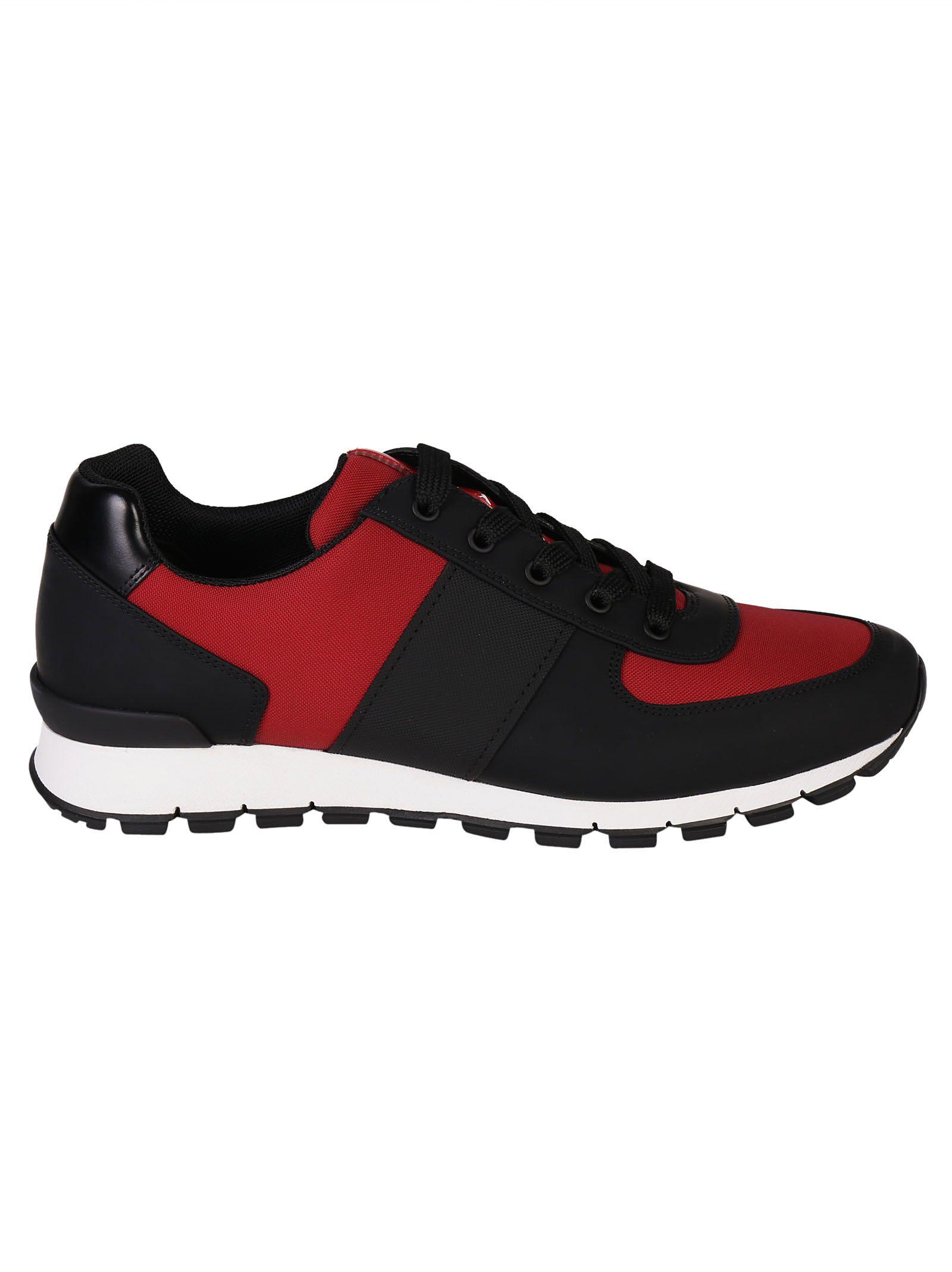 The Most Popular Prada Linea Rossa Sneakers Black+Scarlatto For Men On Sale