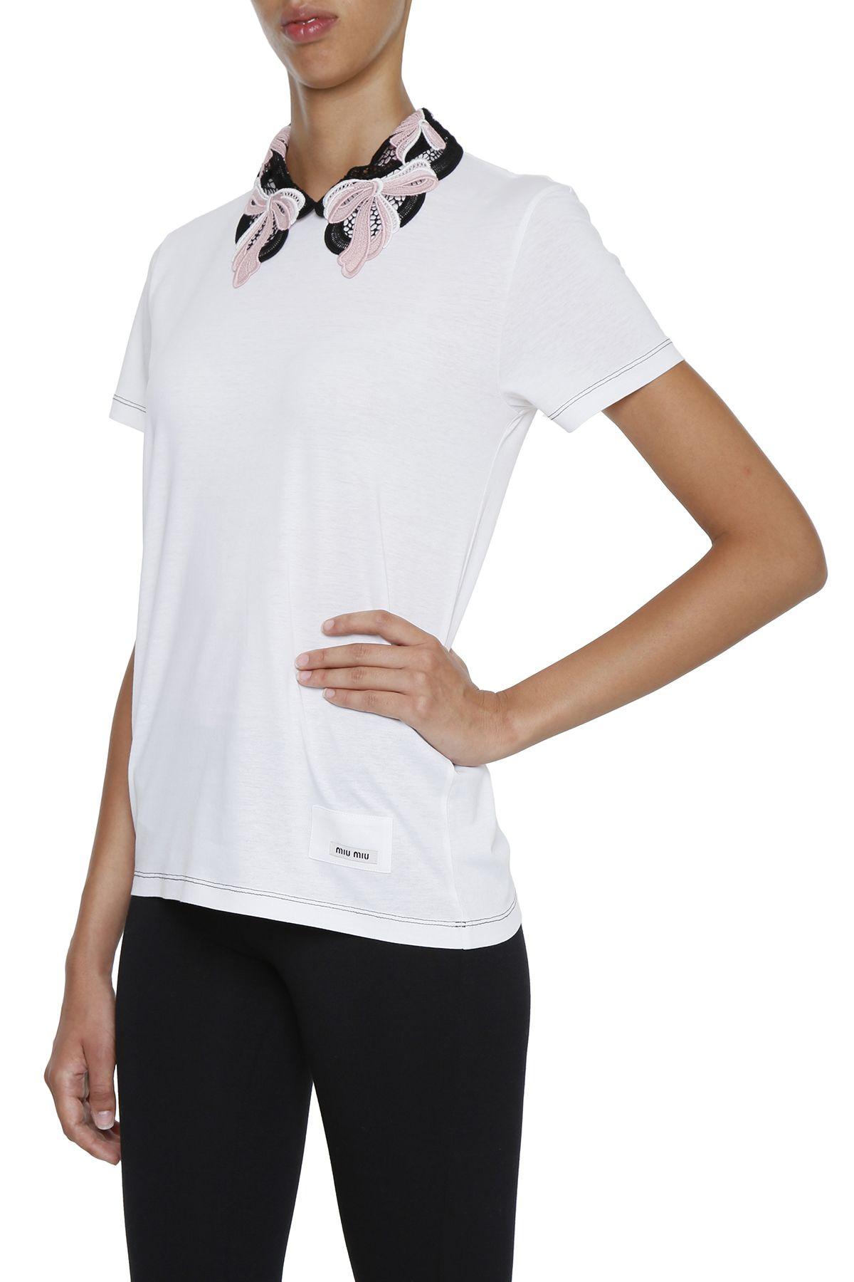 Miu miu jersey and lace t shirt bianco rosa bianco for Miu miu t shirt