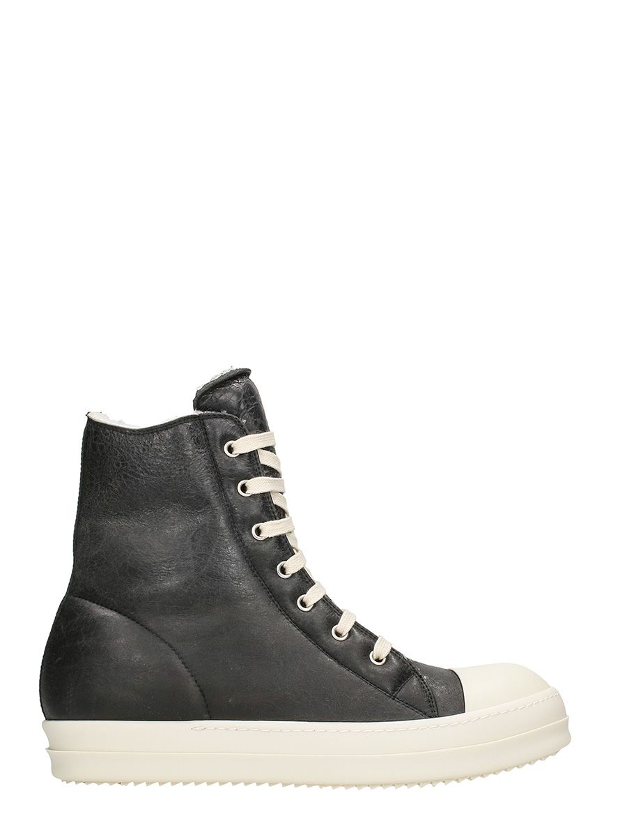Rick Owens Hi-top Shearling Sneakers
