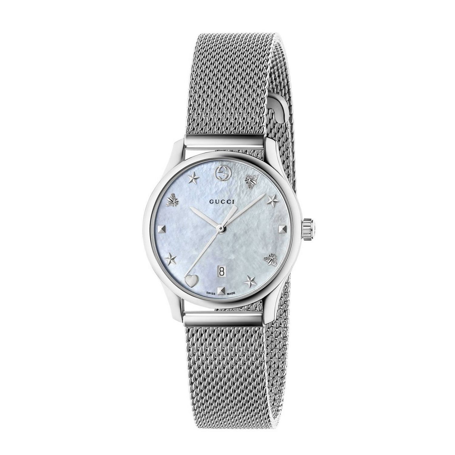 Watch G-Timeless Watch Case 27 Mm In Milanese Mesh With Mother-Of-Pearl Dial, Steel