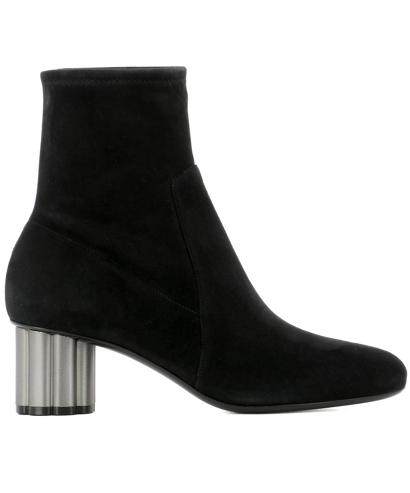 BLACK SUEDE CATANIA HEELED ANKLE BOOTS