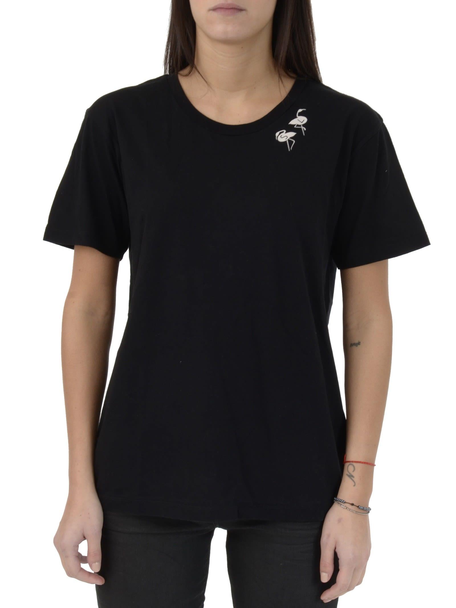 Saint Laurent Black Flamingos Logo T-shirt