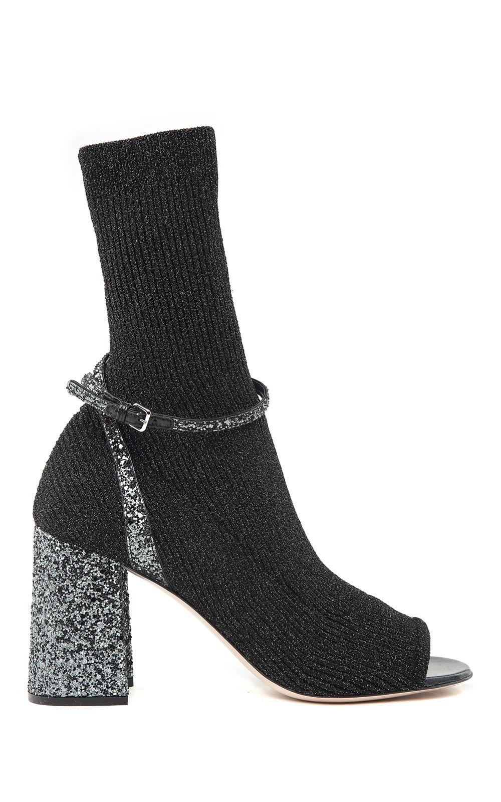 Miu Miu Lurex And Glitter-covered Sock Ankle Boots