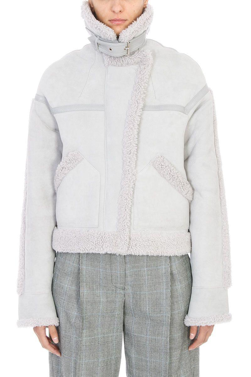 Victoria Beckham Oversized Grey Shearling Leather Jacket
