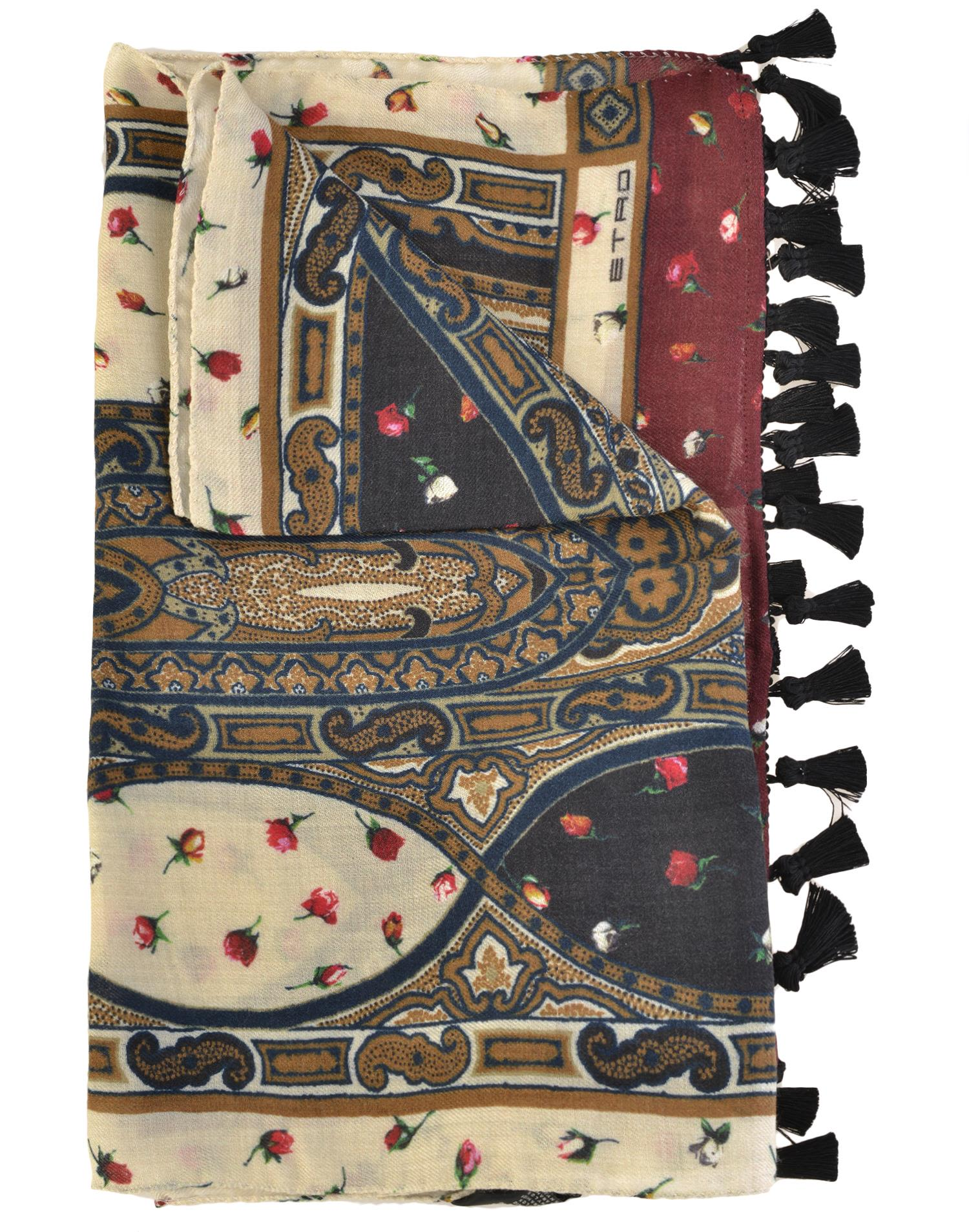 etro etro silk and wool scarf multi s scarves