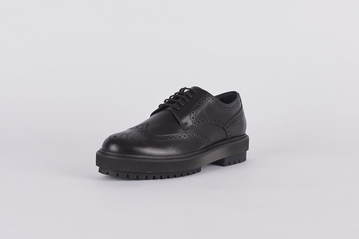 Tods Black Chunky Brogue Shoes