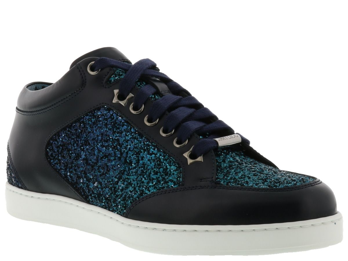 jimmy choo jimmy choo miami sneaker peacock navy mix women 39 s sneakers italist. Black Bedroom Furniture Sets. Home Design Ideas