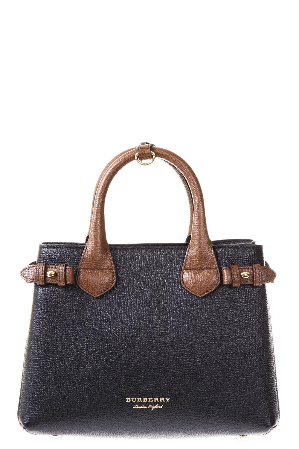 Burberry Checkhouse & Leather Banner Bag