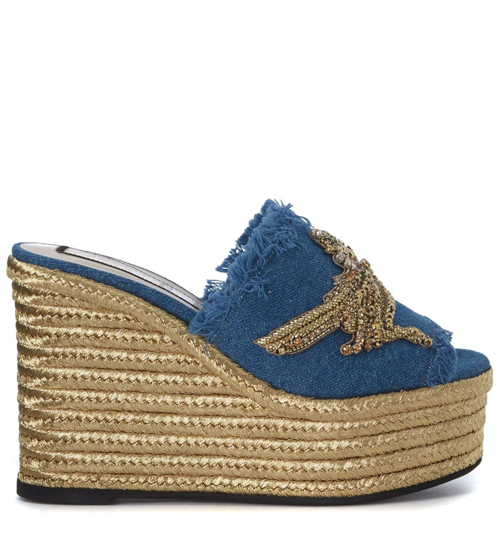 N°21 Blue Denim Fringed Sabot