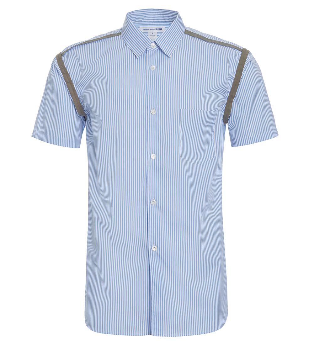 Comme Des Garçons Shirt White/light-blue/hunter Green Shirt