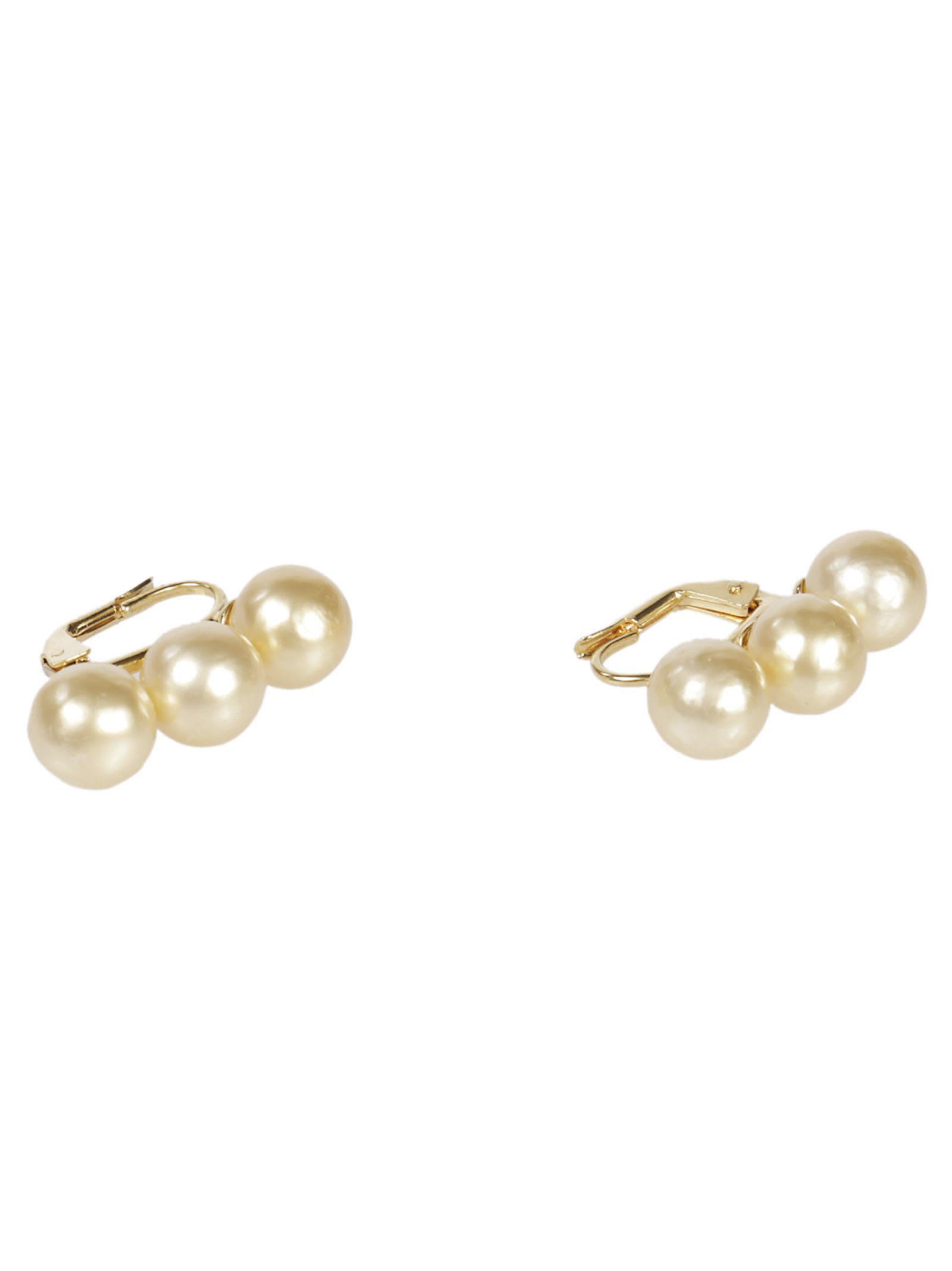 Celine Dot Triple Pearl Earrings