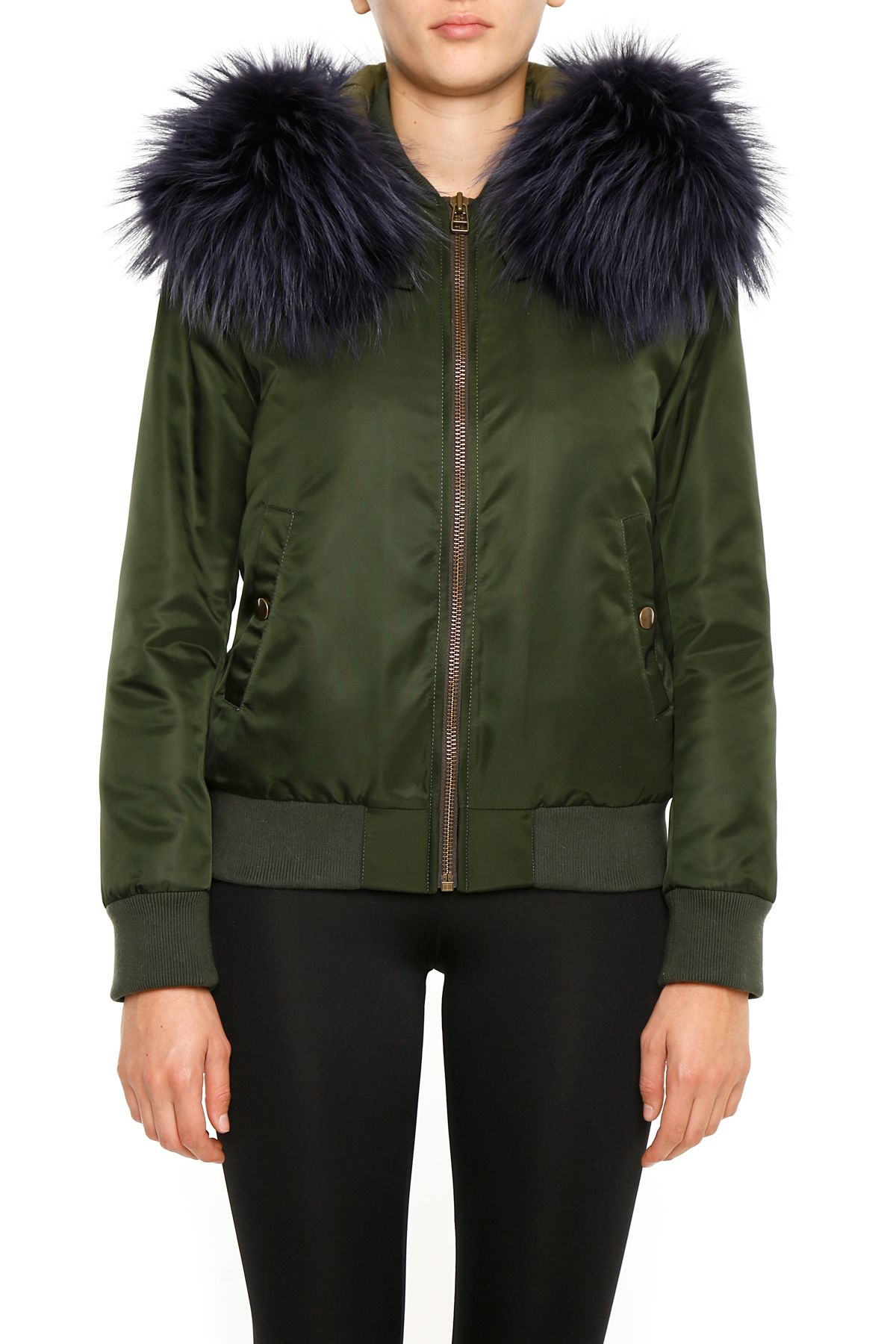 MR & MRS ITALY Detachable Hood Bomber Jacket  in Green