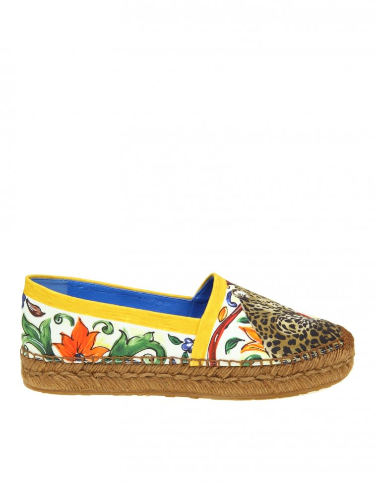 Dolce & Gabbana Espadrillas In Cotton With Maiolic Printing
