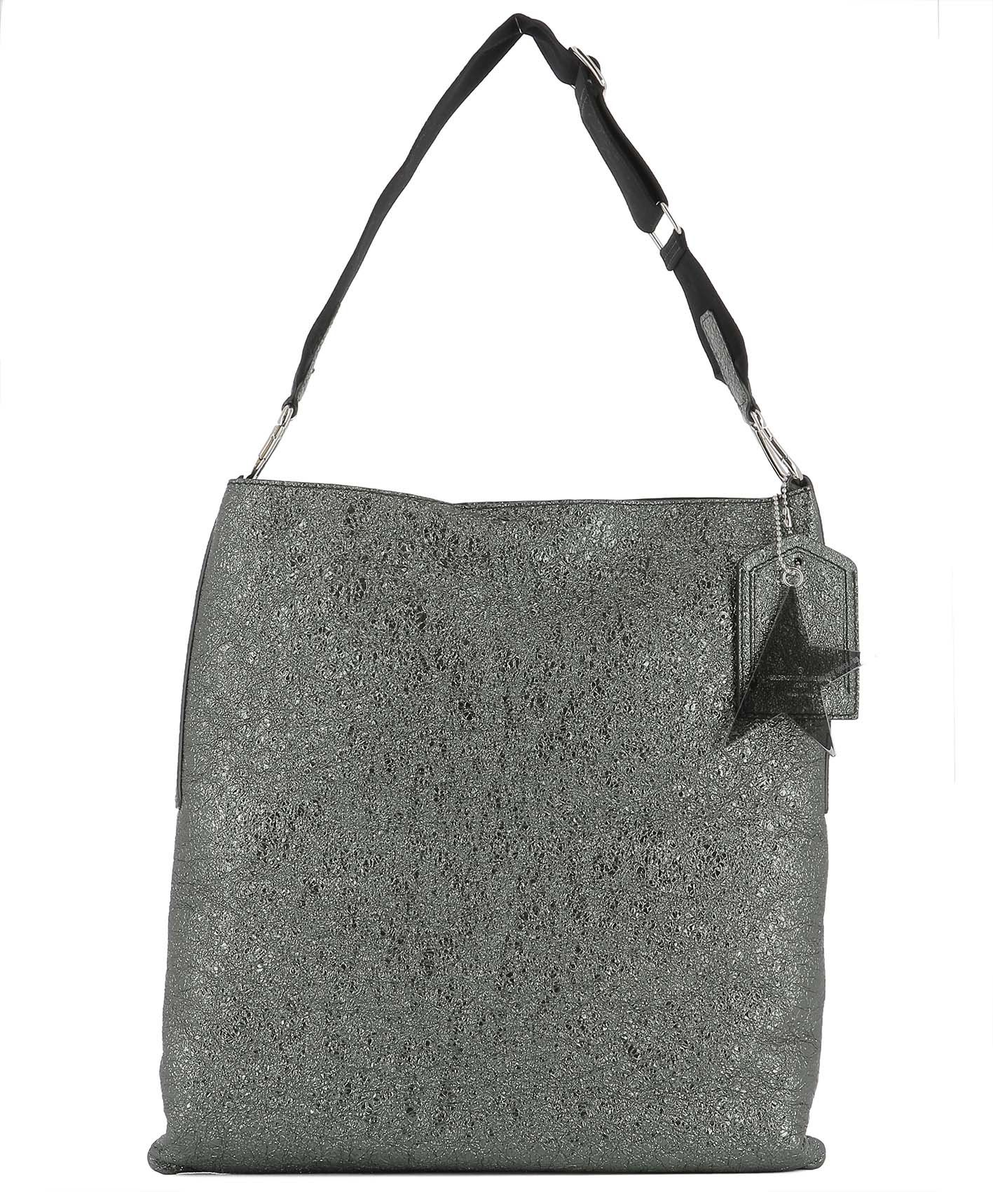 Silver Leather Shoulder Bag