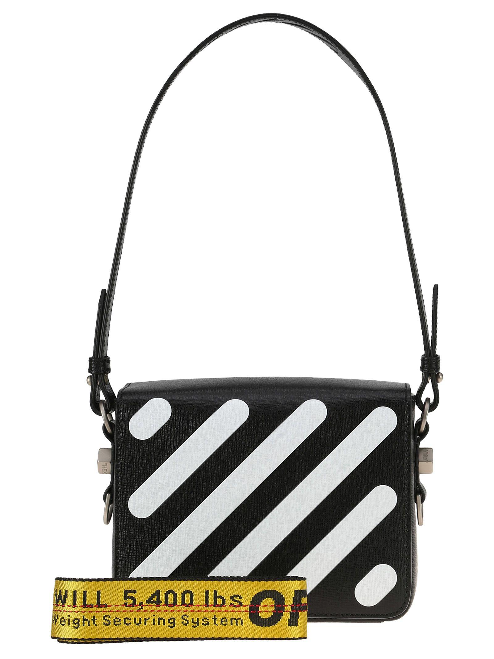 64d45d44b0 Off-White White Diagonal Flap Leather Shoulder Bag In Black + White Stripes