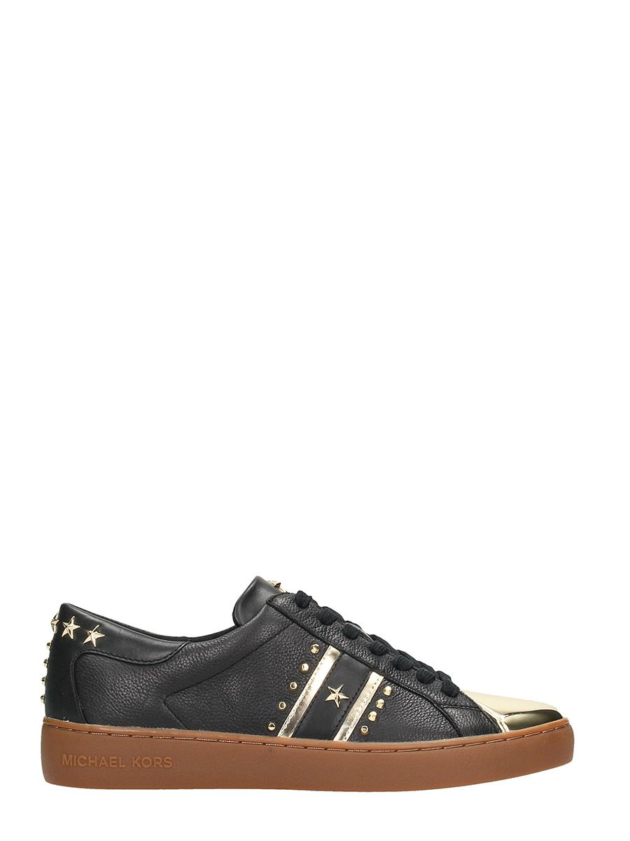 Michael Kors Frankie Balck Leather Sneakers