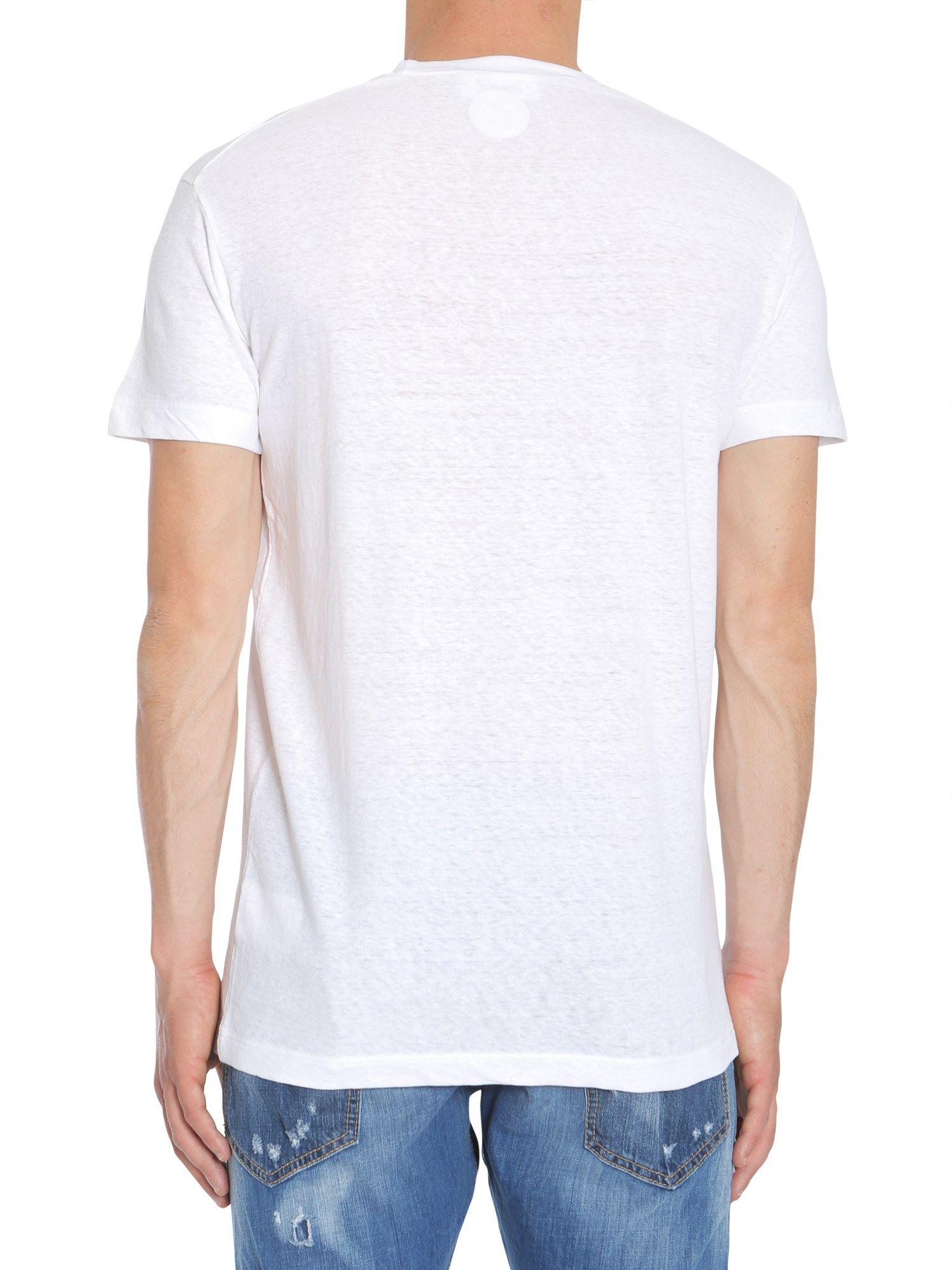 Dsquared2 round collar t shirt bianco men 39 s short for Round collar shirt men