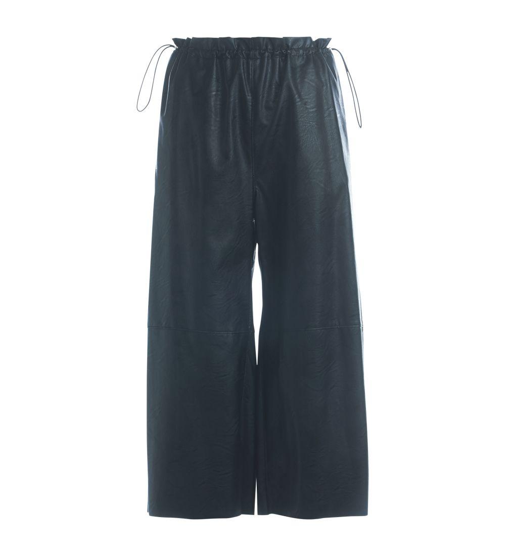 Mm6 Maisona Margiela Black Faux Leather Trousers