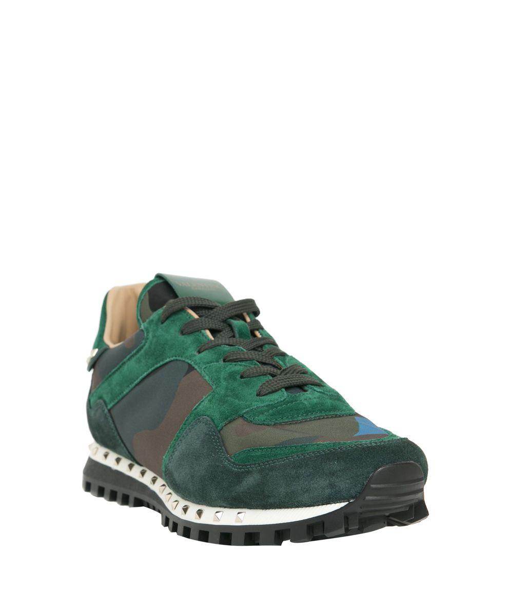 valentino garavani valentino garavani leather studded sneakers verde men 39 s sneakers italist. Black Bedroom Furniture Sets. Home Design Ideas