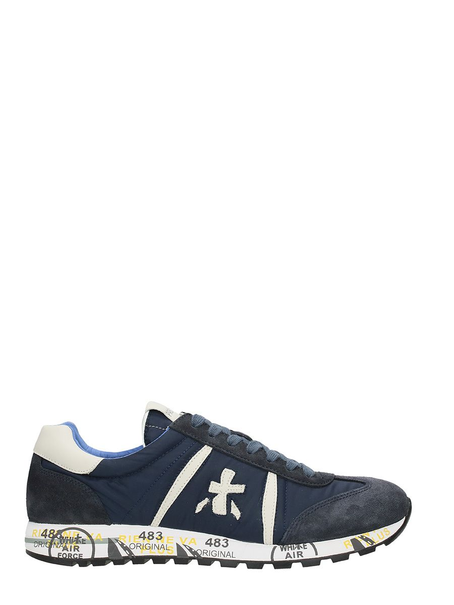 Premiata Lucy Blue Nylon And Suede Sneakers