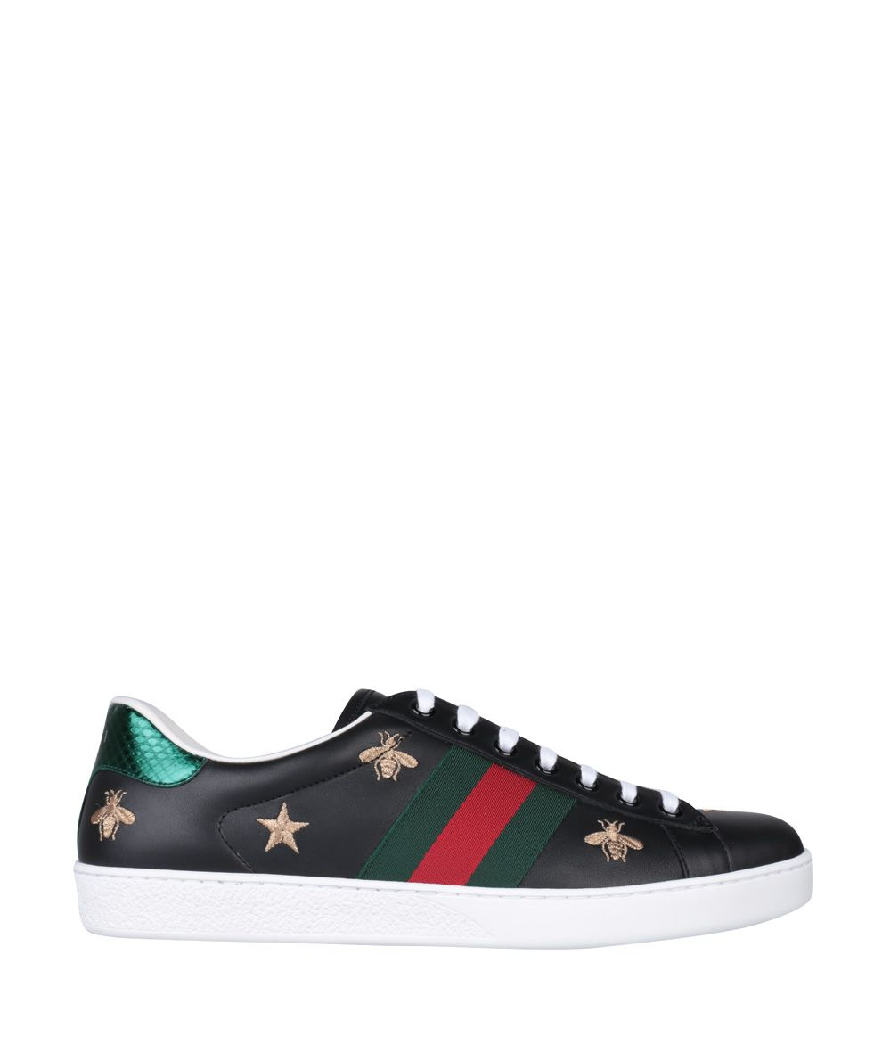 gucci gucci ace embroidered leather sneakers nero men. Black Bedroom Furniture Sets. Home Design Ideas