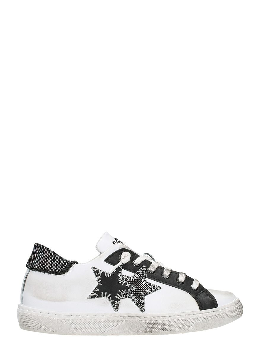 2STAR LOW WHITE BLACK PERFORATED LEATHER SNEAKERS