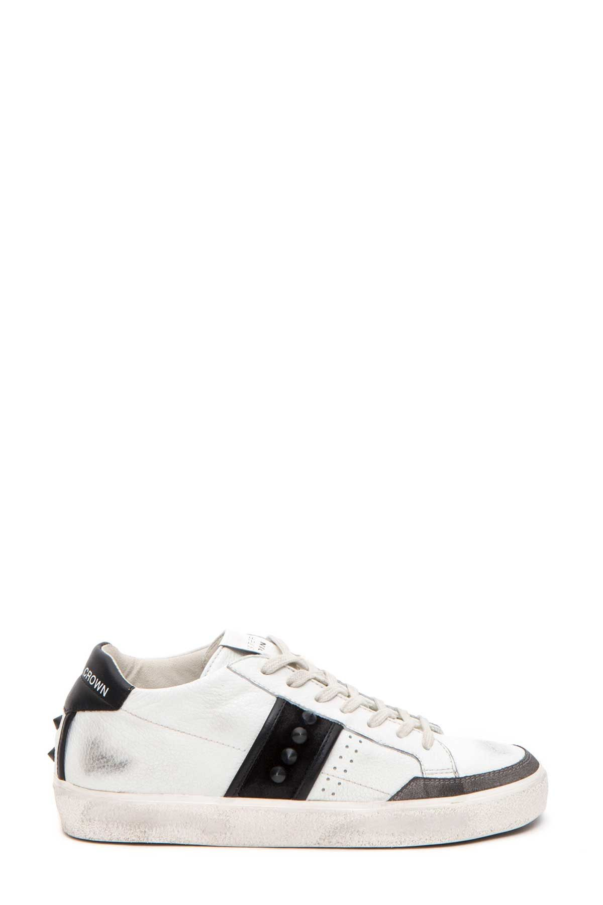 Leather Crown Studs Sneakers