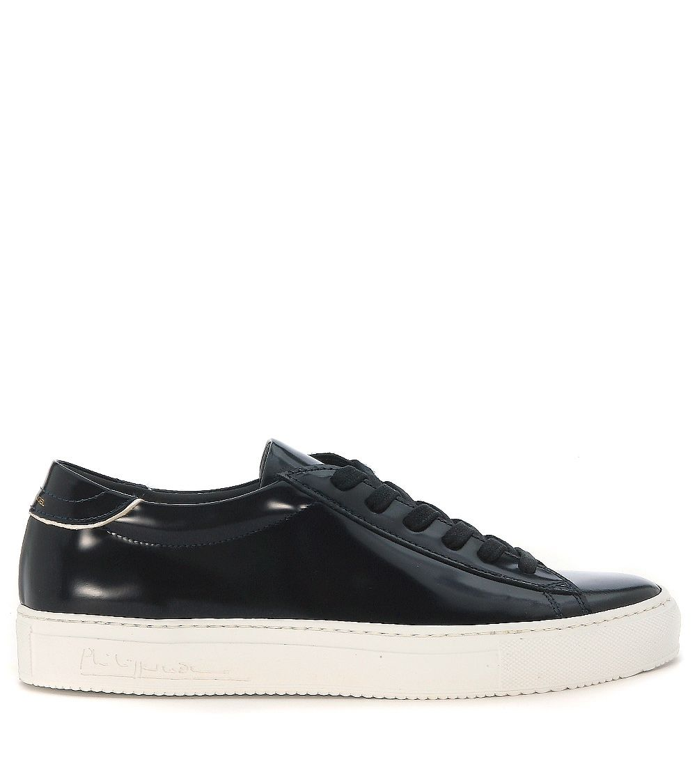 Philippe Model Avenir Low Sneaker In Blue Brushed Leather