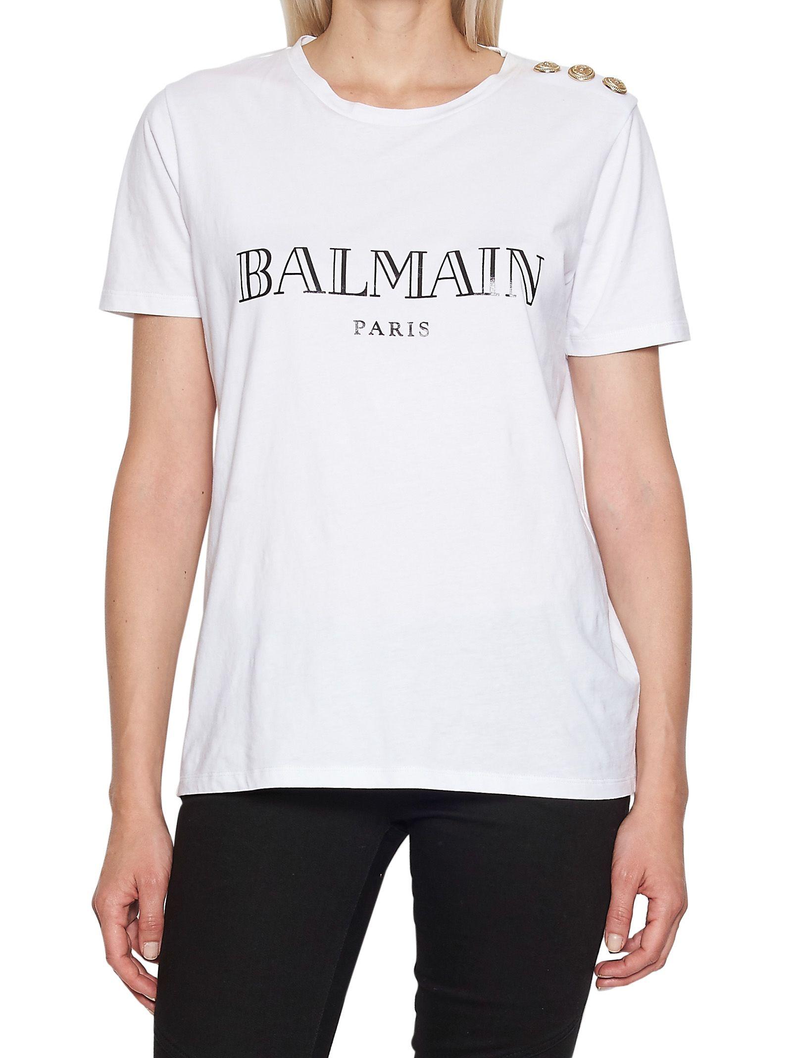Balmain logo printed cotton jersey t shirt white modesens for Balmain white logo t shirt