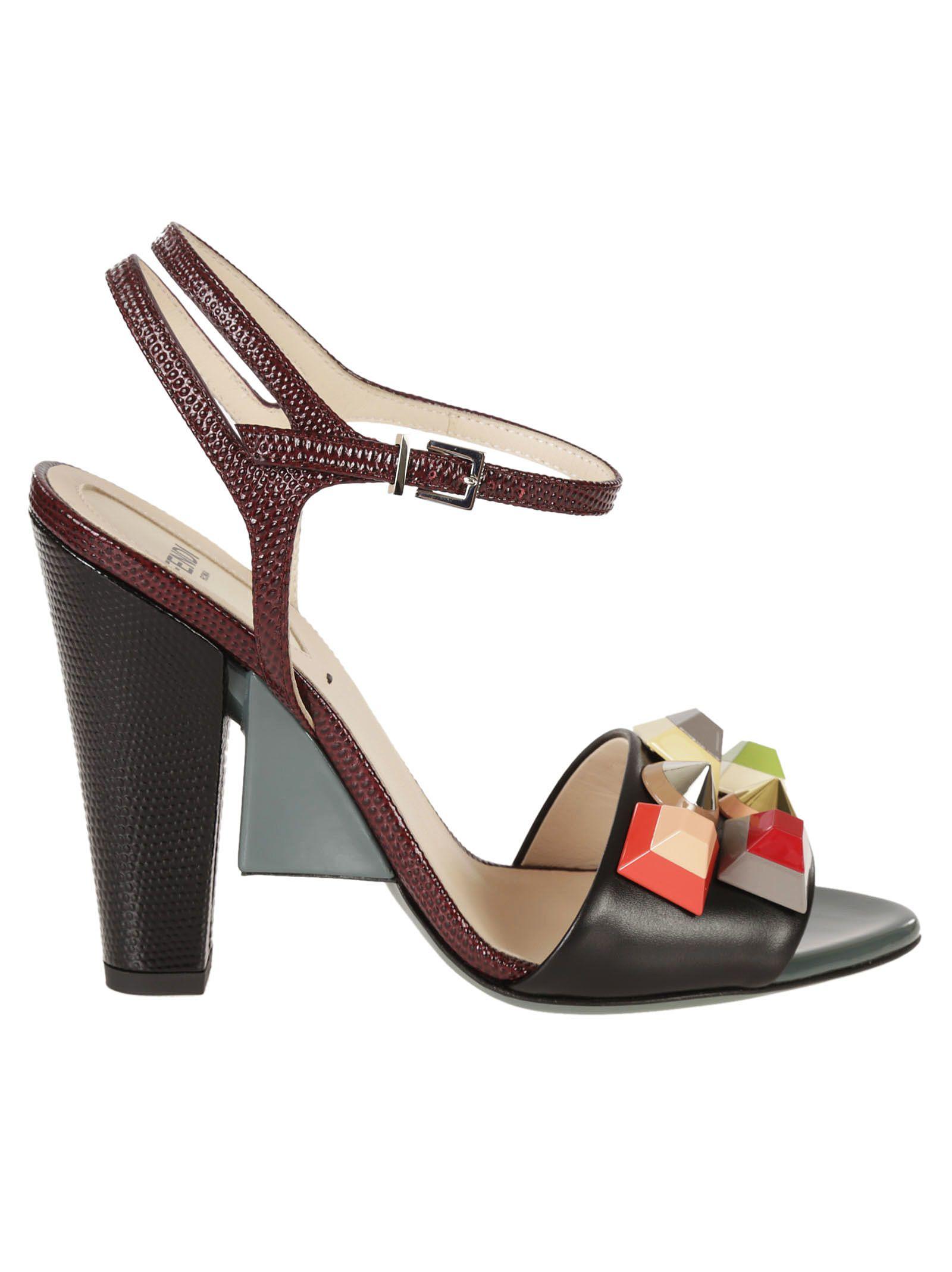 Fendi Embossed Fantasia Sandals