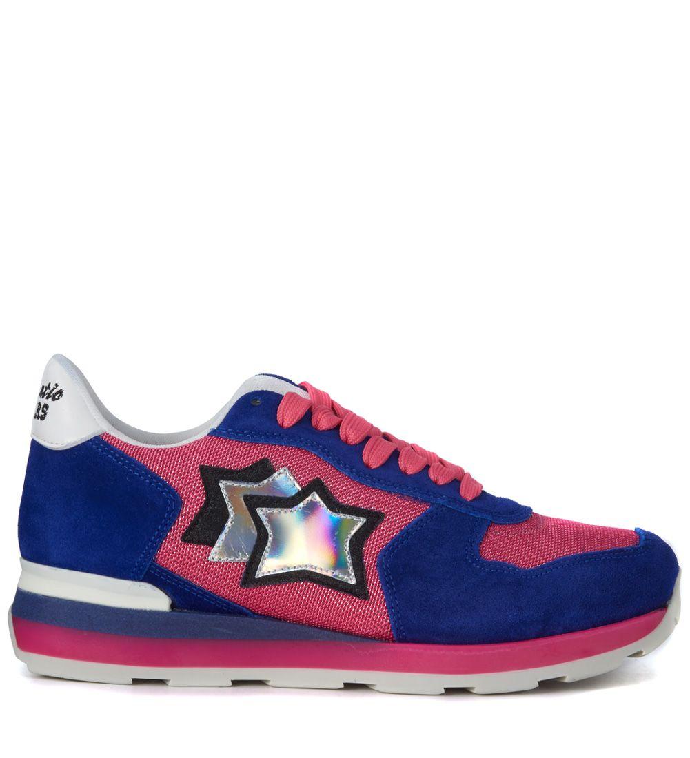 Sneaker Atlantic Stars Vega In Blue Suede And Fucsia Fabric