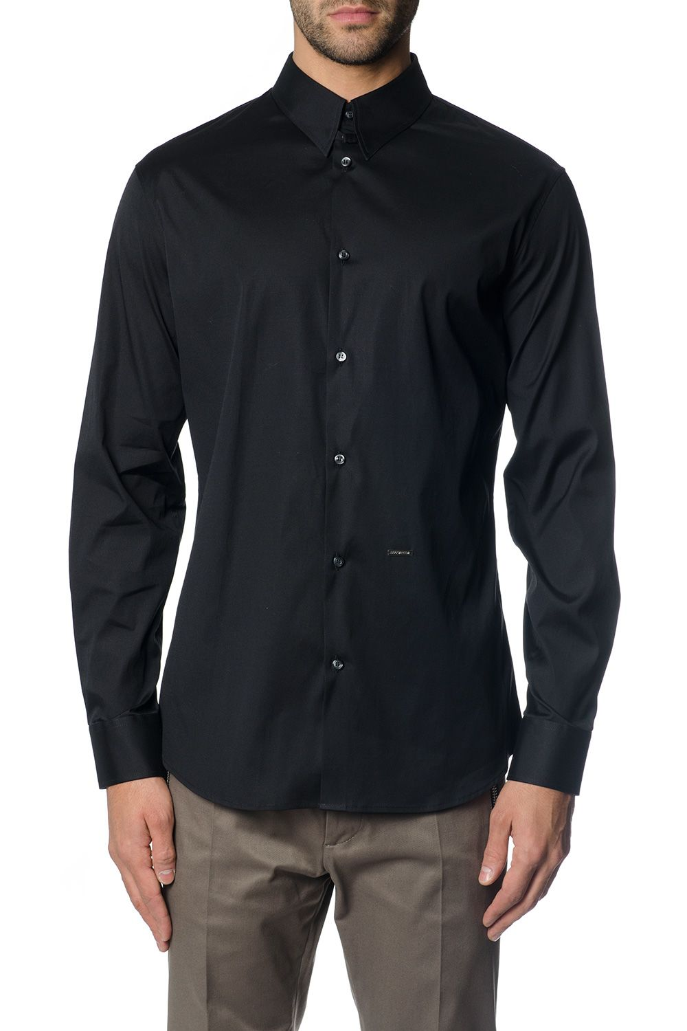Dsquared2 Black Classic Fitted Shirt In Cotton